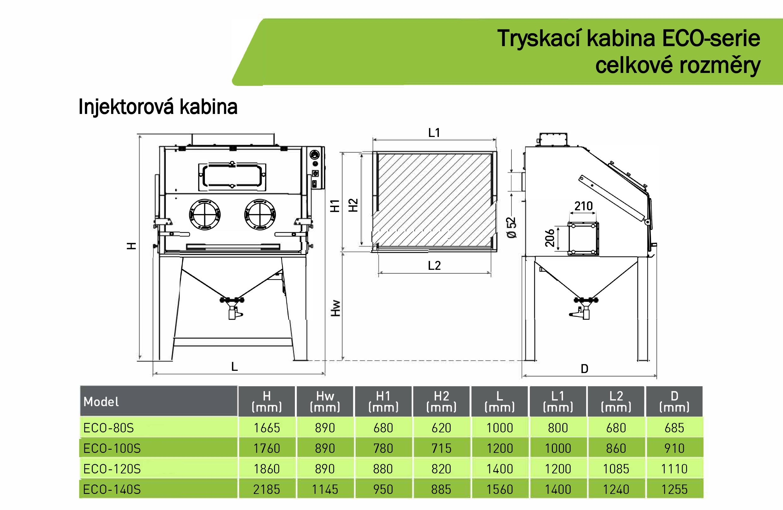 Injektorová kabinová pískovačka ECO 80-140 S schema