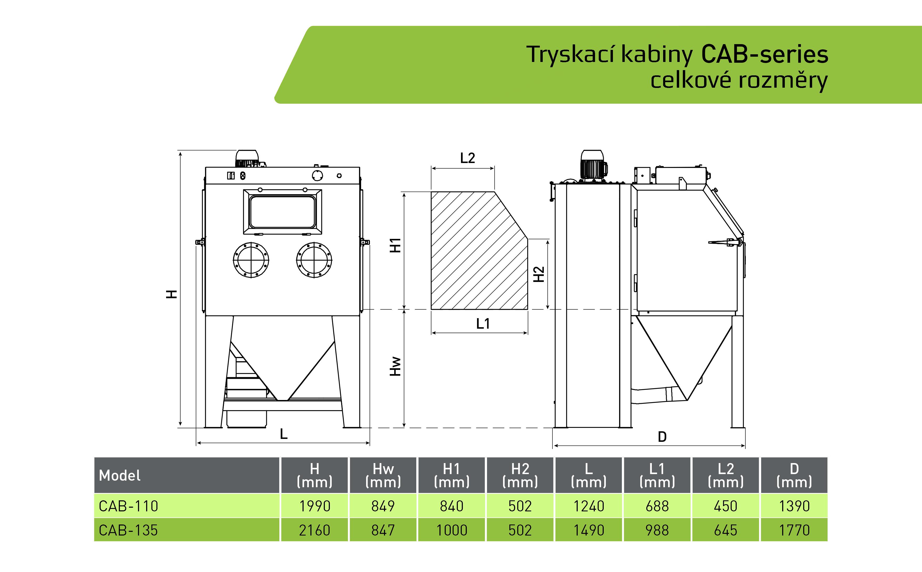 Kabinová pískovačka CAB 110-135 schema